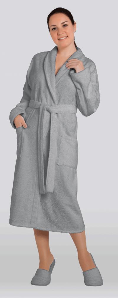 Халат женский махровый цвет серый (Большие размеры)