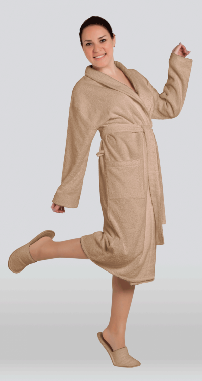Халат женский махровый цвет капучино (Большие размеры)