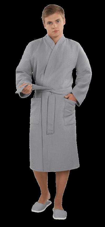 Халат мужской вафельный Престиж серый