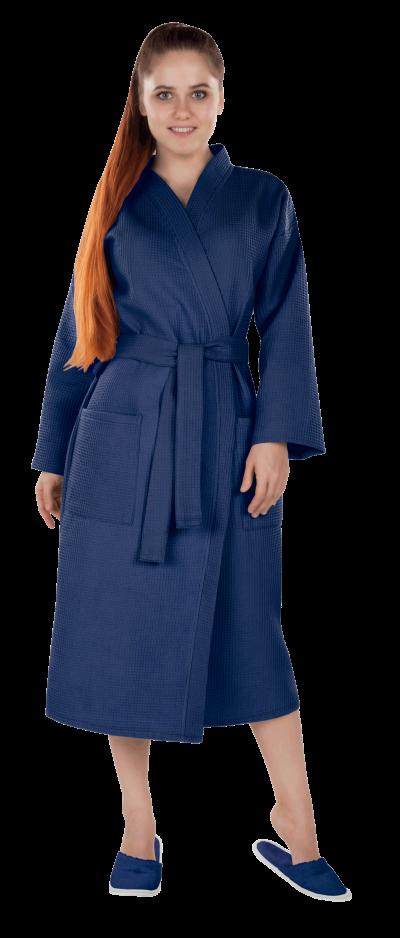 Халат женский вафельный Престиж темно-синий