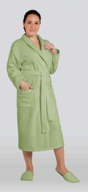 Халат женский махровый цвет фисташка (Большие размеры)
