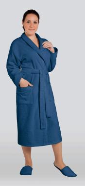 Халат женский махровый цвет темно-синий (Большие размеры)
