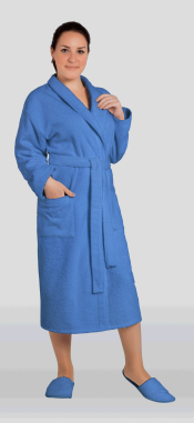 Халат женский махровый цвет синий (Большие размеры)