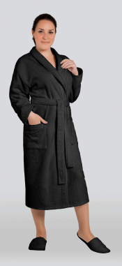 Халат женский махровый цвет черный (Большие размеры)