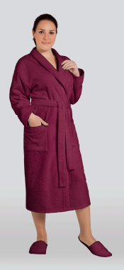 Халат женский махровый цвет каберне (Большие размеры)