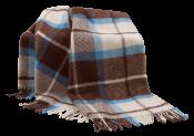 Плед полушерстяной   коричнево-голубой 41.6