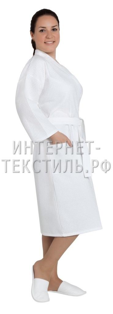 Халат женский вафельный Люкс белый