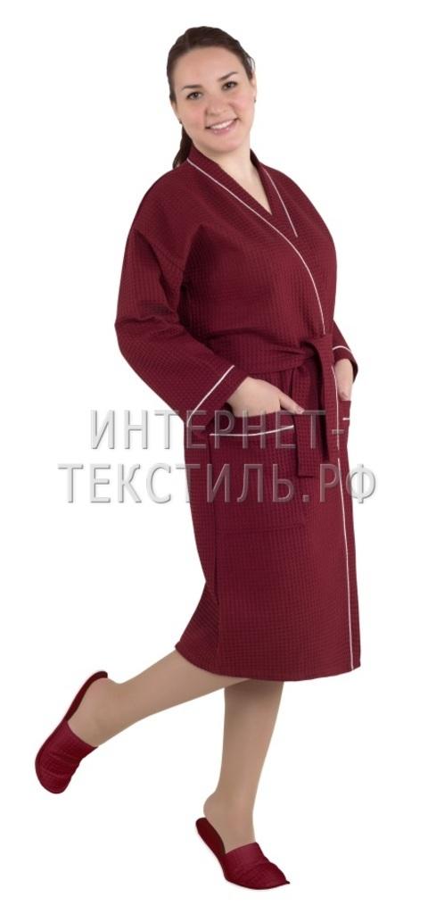 Халат женский вафельный Люкс бордовый