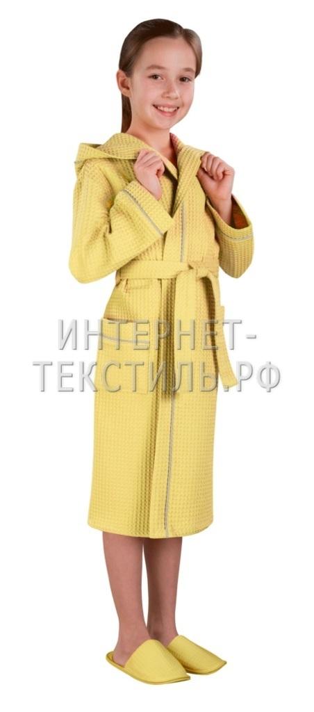 Халат детский вафельный Люкс желтый
