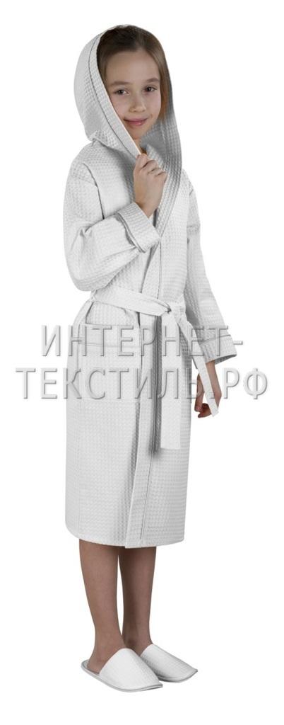 Халат детский вафельный Люкс белый