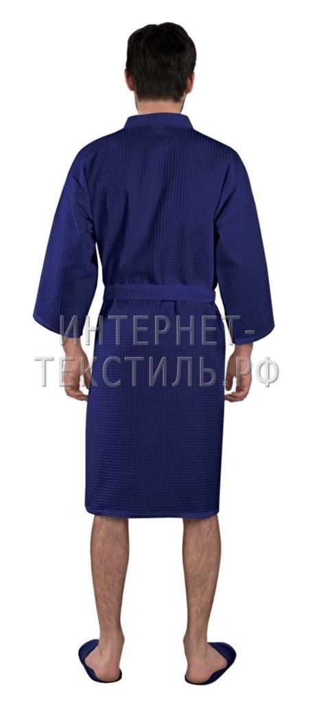 Халат мужской вафельный Люкс темно-синий