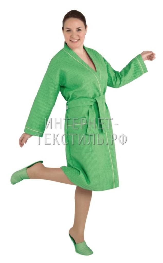 Халат женский вафельный Люкс зеленый
