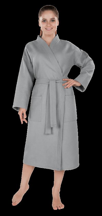 Халат женский вафельный Престиж серый