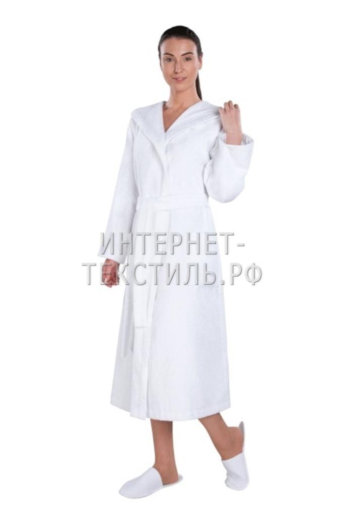 Халат женский махровый белый с капюшоном