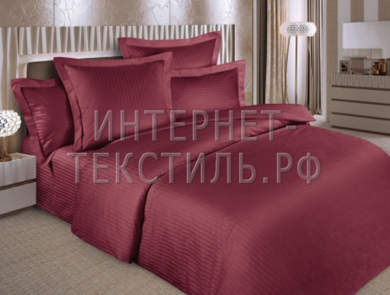 КПБ страйп-сатин вишня 125 г/м2