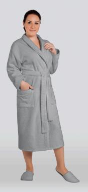 Халат женский махровый цвет серый