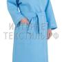 Халат женский вафельный Люкс голубой